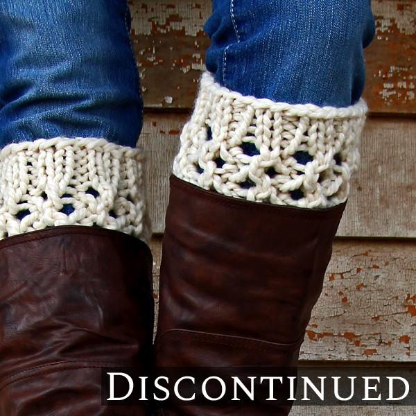model wearing knit boot cuffs