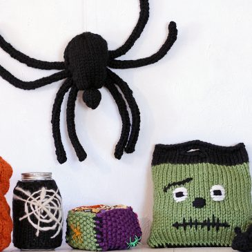 {NEW} Halloween Knitting Patterns: Cable Pumpkin, Mason Jar Cozy, Candy Box, Trick-or-Treat Bag, Rat & Spider