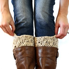 Faux cable boot cuffs!
