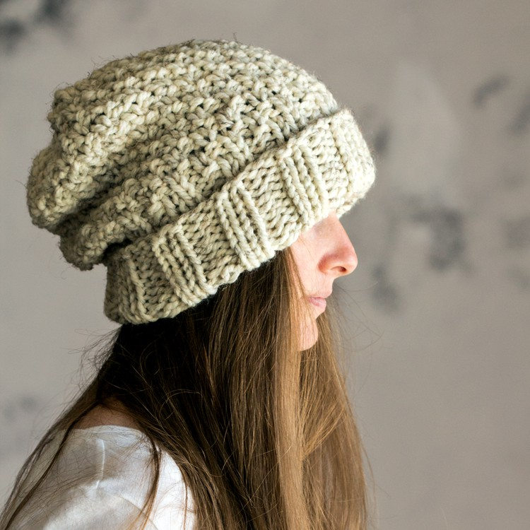 Womens Knit Hat Pattern : INNOCENCE : Women s Slouchy Hat Knitting Pattern   Brome ...