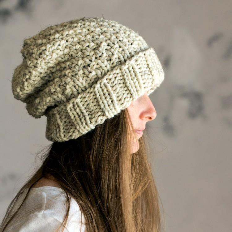 Ladies Hat Knitting Patterns : INNOCENCE : Women s Slouchy Hat Knitting Pattern   Brome Fields