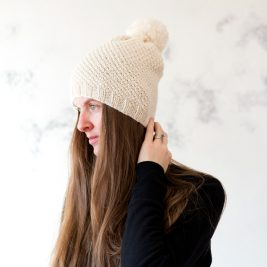 Love : Women's Slouchy Hat with Pom Knitting Pattern