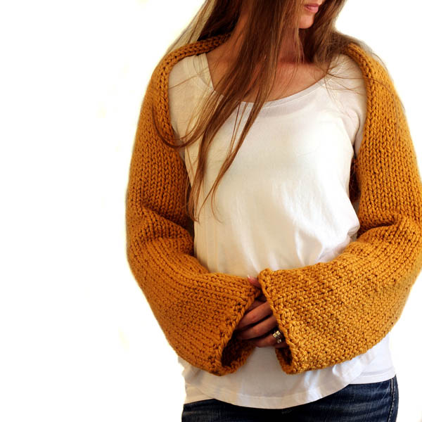 Thrive Shrug Sweater Crop Top Knitting Pattern
