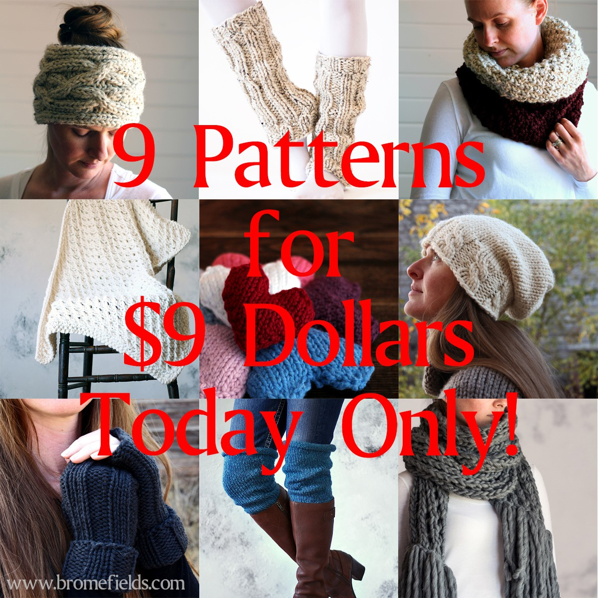9 Knitting Patterns for 9 Dollars! Pick and choose the ones you like!