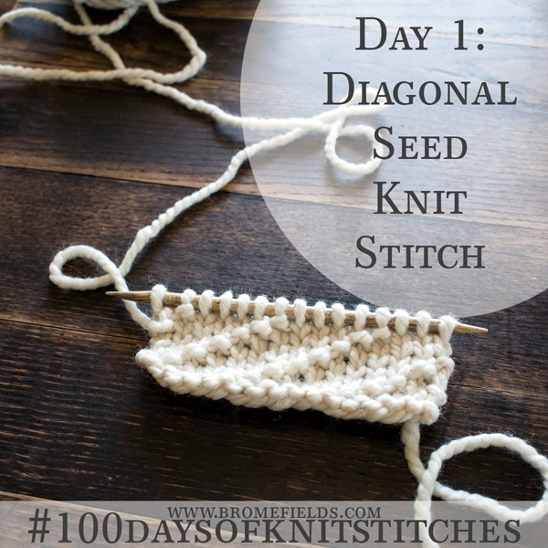 Day 1 : Diagonal Seed Stitch : #100daysofknitstitches by Brome Fields