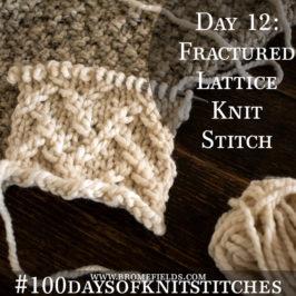 Day 12 : Fractured Lattice Knit Stitch : #100daysofknitstitches
