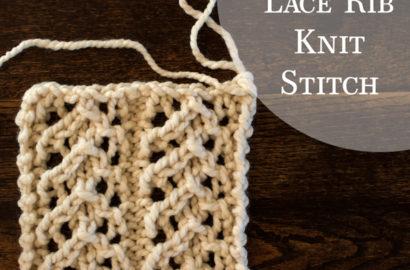 Day 17 : Lace Rib Knit Stitch : #100daysofknitstitches