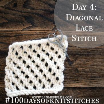Diagonal Lace Knit Stitch +PDF +VIDEO