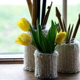 #216 : New Knitting Pattern : Emptiness Mason Jar Cozies