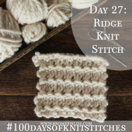 Day 27 : Ridge Knit Stitch : #100daysofknitstitches