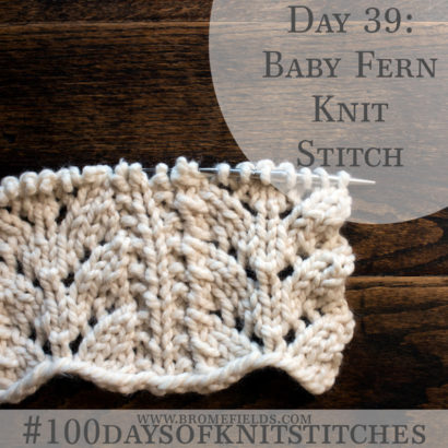 Day 39 : Baby Fern Knit Stitch : #100daysofknitstitches