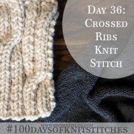 Day 36 : Crossed Rib Knit Stitch : #100daysofknitstitches