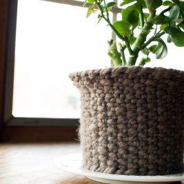 Knitted woven flower basket
