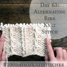 Day 63 : Alternating Ribs Knit Stitch : #100daysofknitstitches