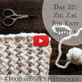 Day 52 : Zig Zag Rib Knit Stitch : #100daysofknitstitches