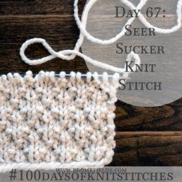 Day 67 : Seer Sucker Knit Stitch : #100daysofknitstitches