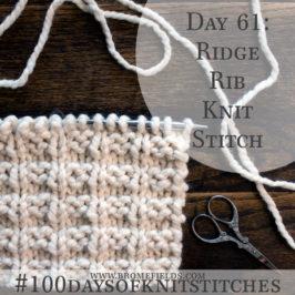 Day 61 : Ridge Rib Knit Stitch : #100daysofknitstitches