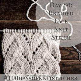 Day 86 : Braided Lace Knit Stitch : #100daysofknitstitches