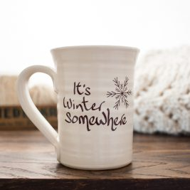 "Brome Fields ""It's Winter Somewhere"" hand thrown mug"
