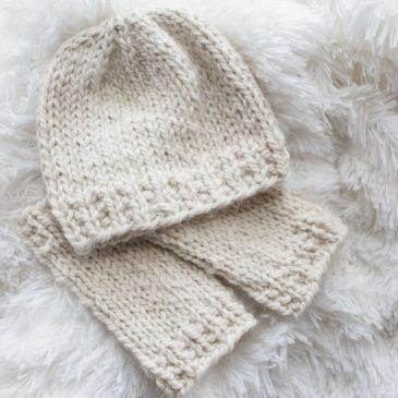 Cute little baby hat and leg warmer knitting pattern!