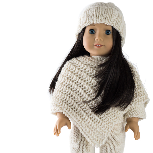 Cozy Outfit : Doll Hat, Sweater, Poncho and Pants Knitting Patterns