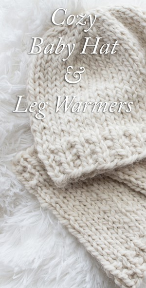 Cute little baby hat and leg warmer knitting pattern!