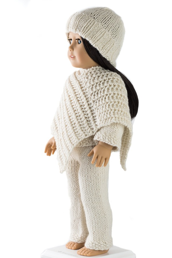 Cozy Outfit Doll Hat Sweater Poncho And Pants Knitting