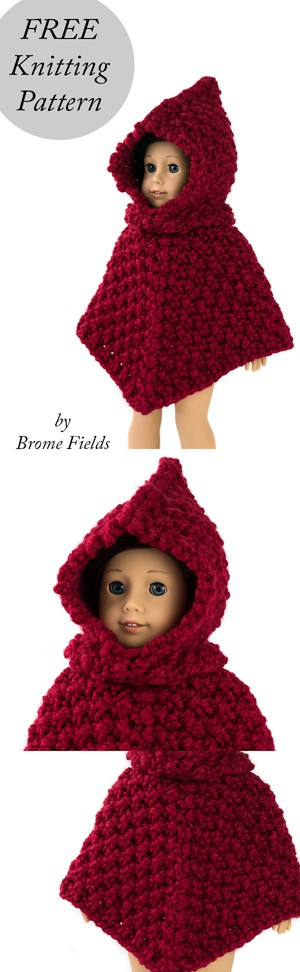 Knitting Pattern For Little Red Riding Hood Doll : VALIANT : American Girl Doll Hooded Poncho Knitting ...