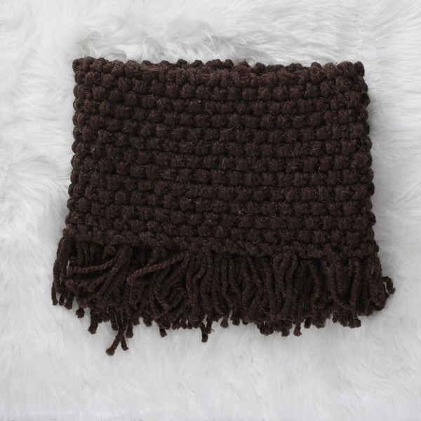 knit cowl on a fur blanket