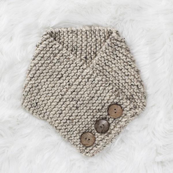 knit cowl on a fur blanket