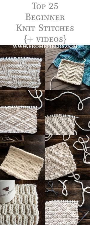 Top 25 Beginner Knit Stitches {+videos}