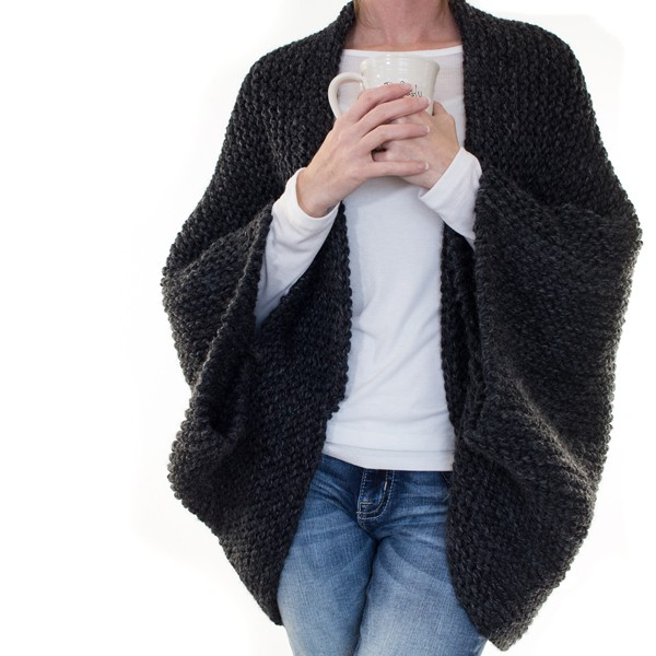 model wearing knitted cocoon sweater