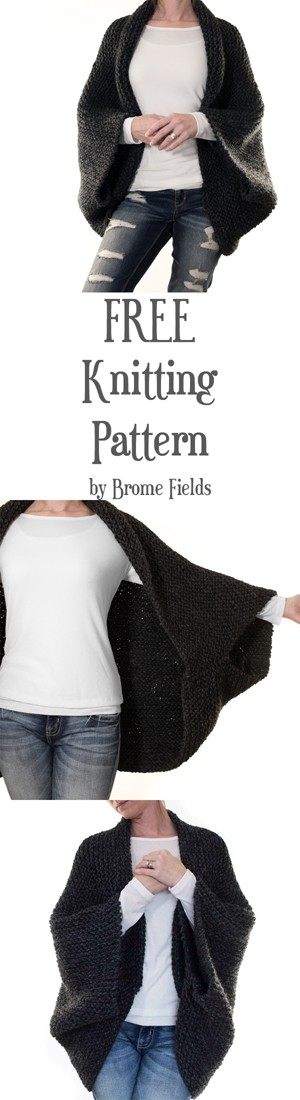 FREE MEDITATION : Cocoon Blanket Sweater Knitting Pattern by Brome Fields