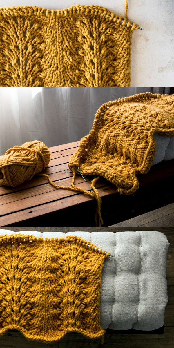 Fan and Feather Blanket Knitting Pattern by Brome Fields