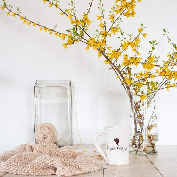battery jar yarn and flowers in vase