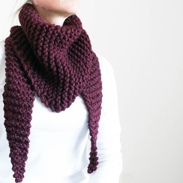 FREE Claret Triangle Scarf Cowl Knitting Pattern - Brome Fields
