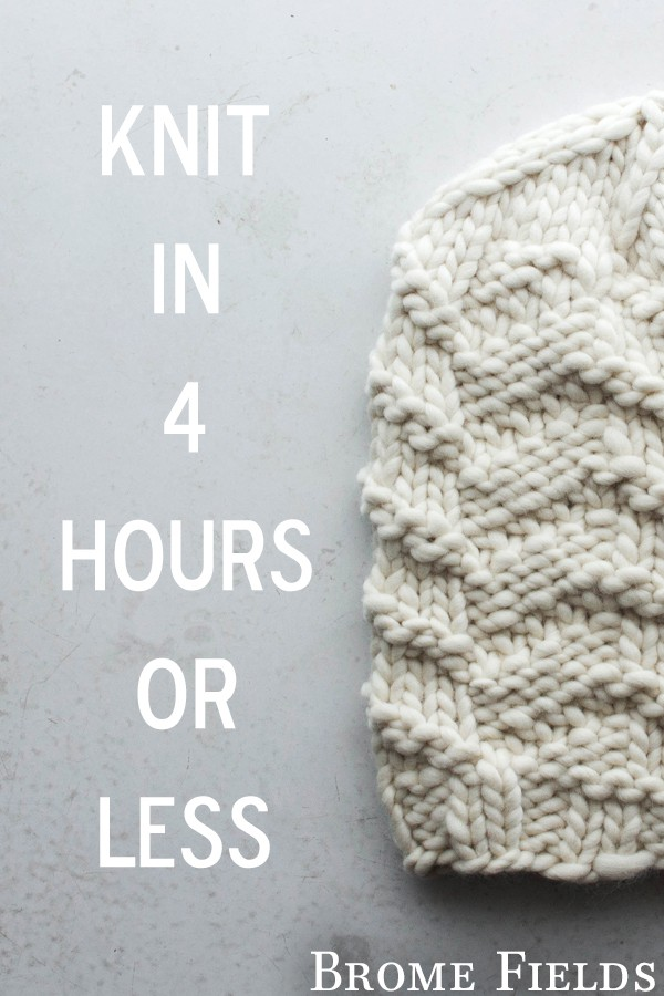 Knit in 4 hours or less: Super Simple Slouchy Hat Knitting Pattern by Brome Fields