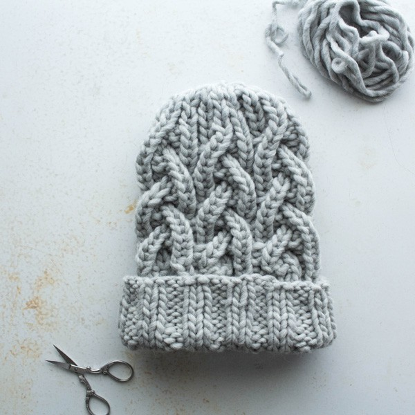 Rib Cable Hat Knitting Pattern by Brome Fields