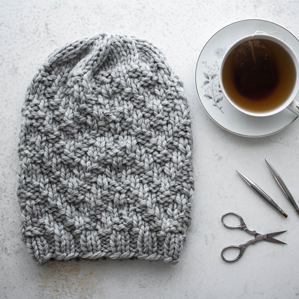 Chevron Rib Slouchy Hat Knitting Pattern by Brome Fields