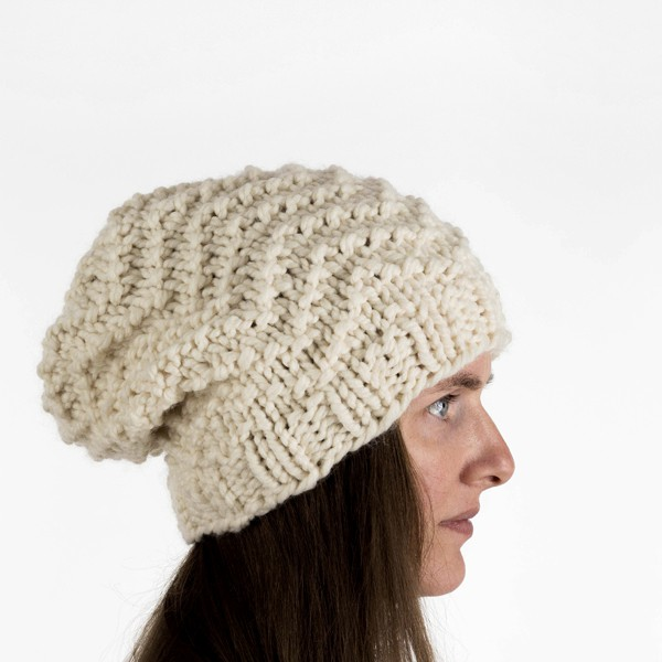 Chevron Seed Stitch Hat Knitting Pattern by Brome Fields