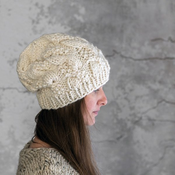 Textured Cable Hat Knitting Pattern by Brome Fields