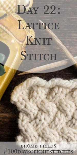 Day 22 : Lattice Knit Stitch : #100daysofknitstitches