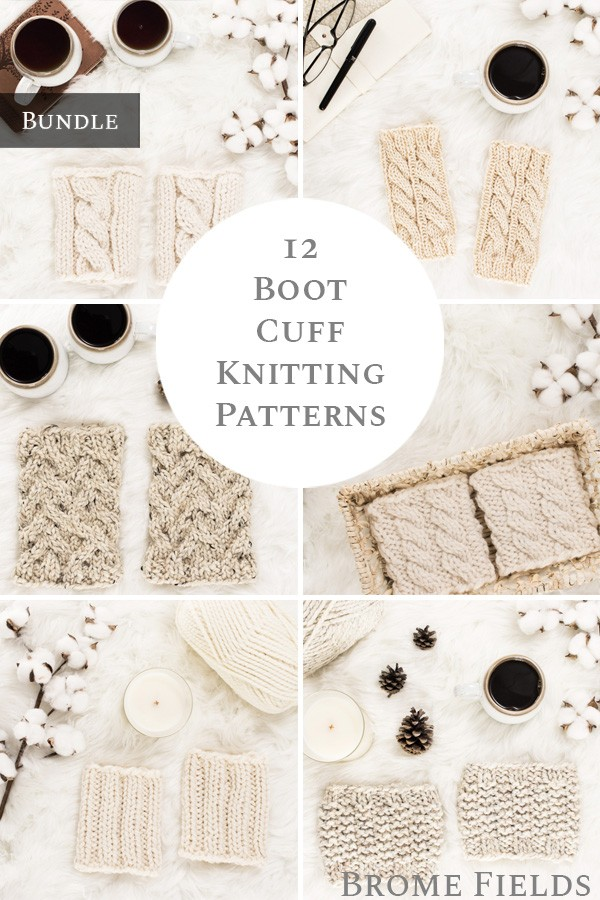 multiple photos of knit boot cuffs on rugs