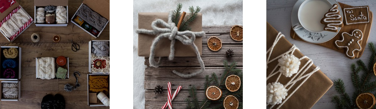 three images of Christmas gifts wrapped using yarn