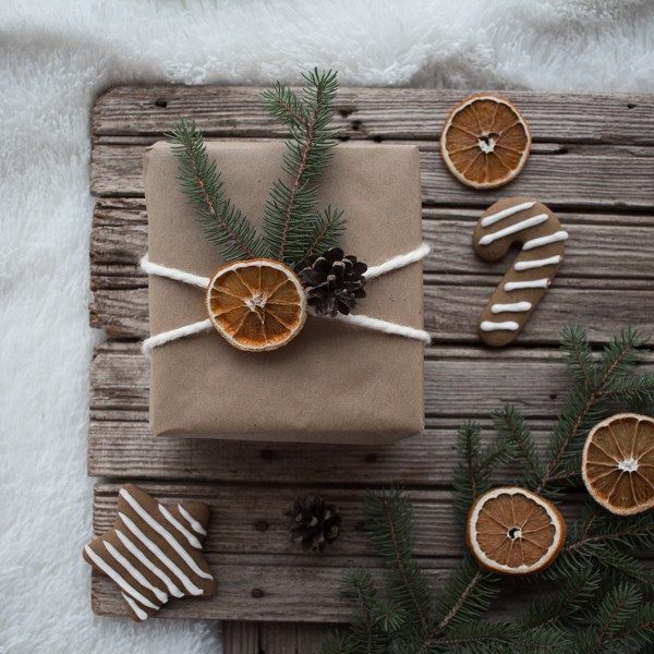 Gift wrapped with natural gift toppers.