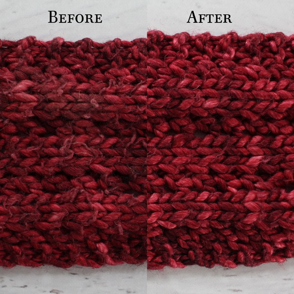 Shave your knitwear before & after photos