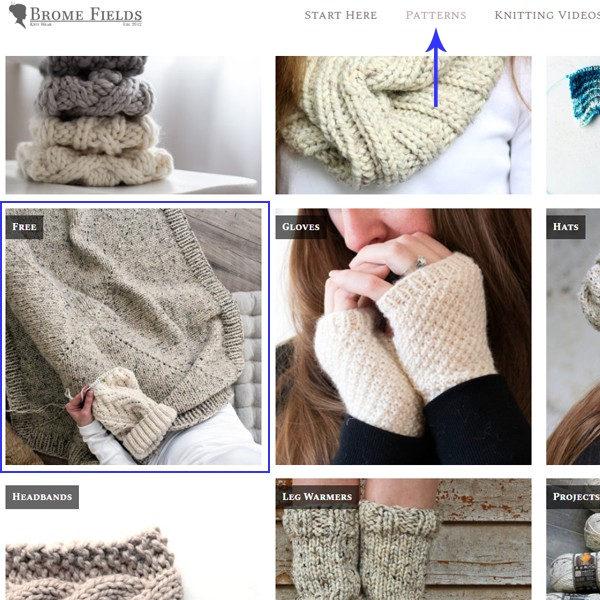 Where to find the FREE knitting patterns