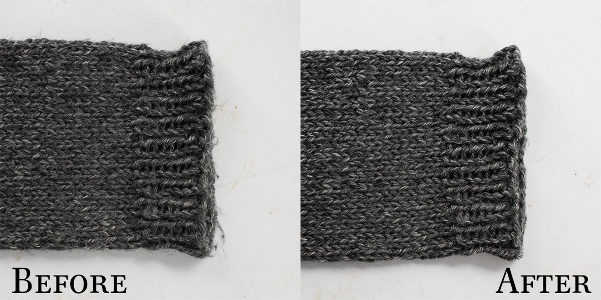Shaver Before & After Lion Brand Heartland Sweater