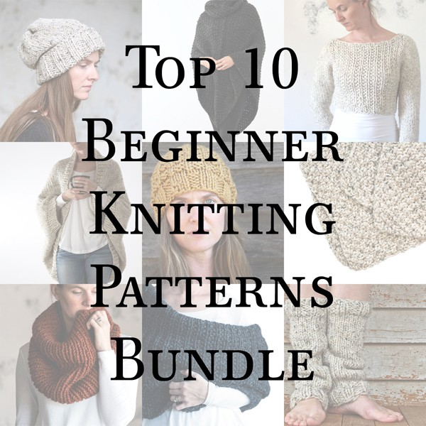 Beginner Knitting Patterns Collage
