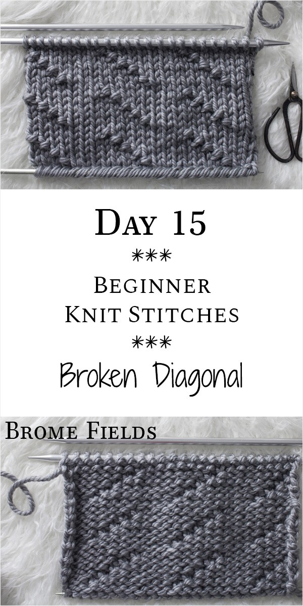 Broken Diagonal Seed Knit Stitch : Day 15 of the 21 Days of Beginner Knit Stitches : Brome Fields